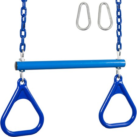Swing Set Stuff Inc. Trapeze Bar with Rings and Coated Chain (Blue)