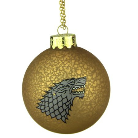 "3.5"" Champagne and Silver Game of Thrones Family Crest Decal Glass Christmas Ball Ornament"