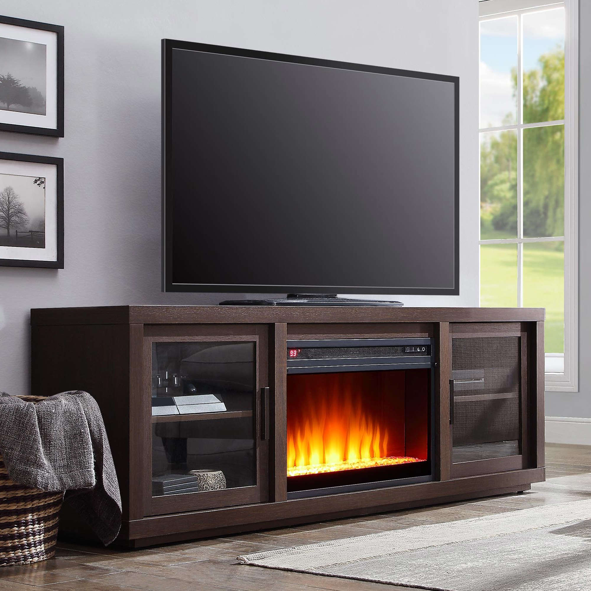 "Better Homes & Gardens Steele Media Fireplace Console, Television Stand for TVs up to 80"", Espresso Finish"