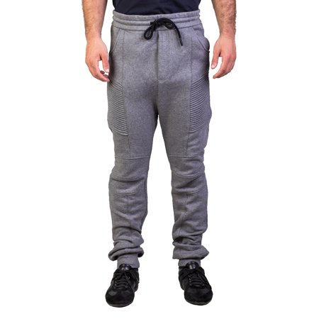 (Pierre Balmain Men's Cotton Blend Motorcycle Sweatpants Pants Grey)