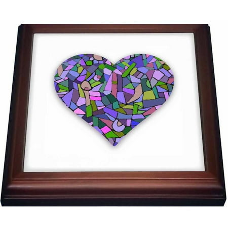 Lights Trivet (3dRose Mosaic Heart graphic art - arty purple green abstract - Gaudi-inspired, Trivet with Ceramic Tile, 8 by 8-inch)