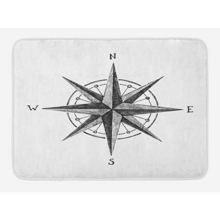 - Compass Bath Mat, Seamanship Hand Drawn Windrose with Complete Directions North South West, Non-Slip Plush Mat Bathroom Kitchen Laundry Room Decor, 29.5 X 17.5 Inches, Charcoal Grey White, Ambesonne
