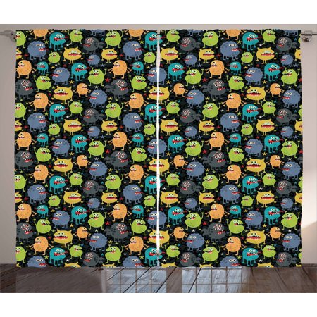 Alien Curtains 2 Panels Set, Cute Funny Characters Cartoon Style Halloween Themed Monsters Abstract Background, Window Drapes for Living Room Bedroom, 108W X 108L Inches, Multicolor, by Ambesonne