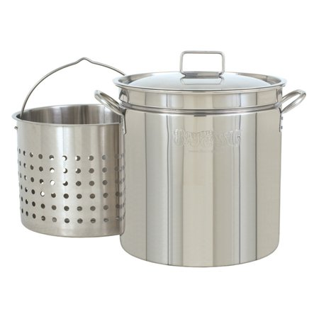 - Bayou Classic Steam Boil Fry Stainless Steel Stockpot with Basket