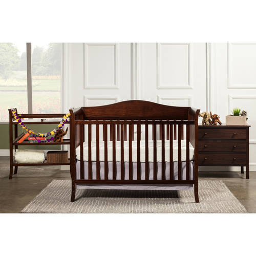 Baby Mod Bella Crib and 3 Drawer Dresser Set with BONUS Changing Table, Espresso