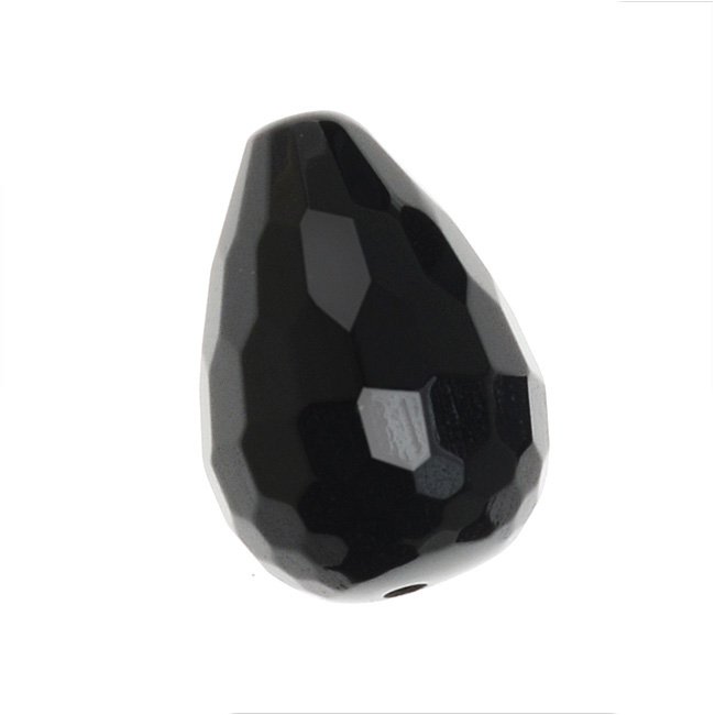 10 Pcs Very Beautiful Natural Black Onyx Faceted Drops Beads Size 20X9-14X7 MM