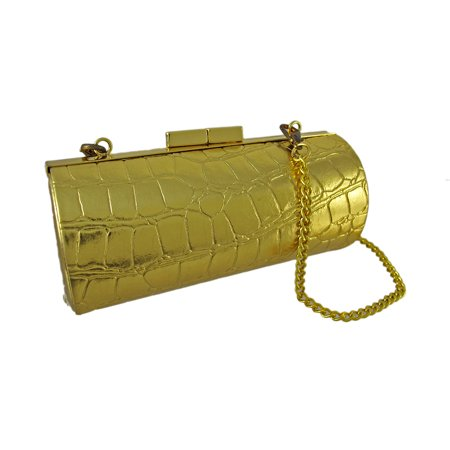 4f7e4ec4d8c Zeckos - Glossy Mock Croc Textured Barrel Shaped Mini Clutch Purse -  Walmart.com