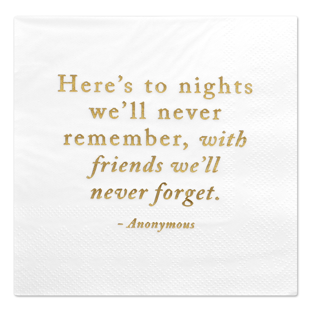 Koyal Wholesale Here's to Nights, Funny Quotes Cocktail Napkins, Gold Foil, Bulk 50 Pack Count 3 Ply Napkins