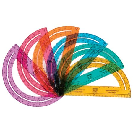 School Smart 180 Degree Protractor, 6 inch, Assorted Colors