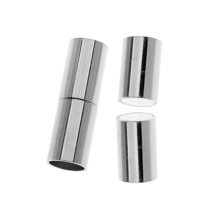 - Magnetic Clasp, Tube Cord Ends Fits 6.2mm Cord, 1 Set, Silver Plated