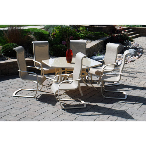 Brynn 7 Piece Patio Dining Set, White (Box 2 Of 2)