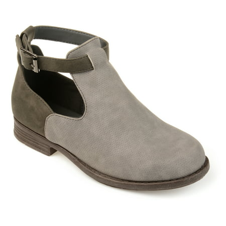 Brinley Co. Kid's Side Cut-out Perforated Two-tone Booties](Booties Cut Out)