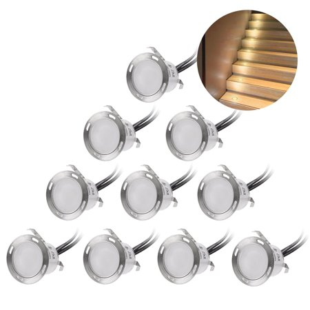 Step Low Voltage Deck (Recessed LED Deck Lighting Kits 12V Low Voltage Warm White ?22mm Waterproof IP 67,Led In Ground Lighting for Steps,Stair,Patio,Floor,Pool Deck ,Kitchen,Outdoor Led Landscape Lighting(10Pcs/Pack) )
