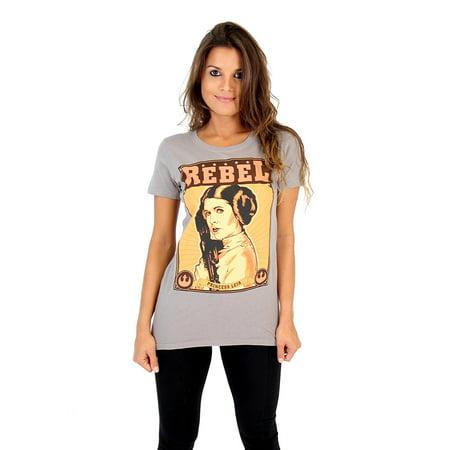 Star Wars Iron On Transfers - Star Wars Rebel Princess Leia Steel Grey Juniors T-Shirt