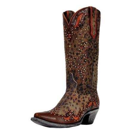 Western Boots Womens Cheetah Print Studded Grey JR922-52T