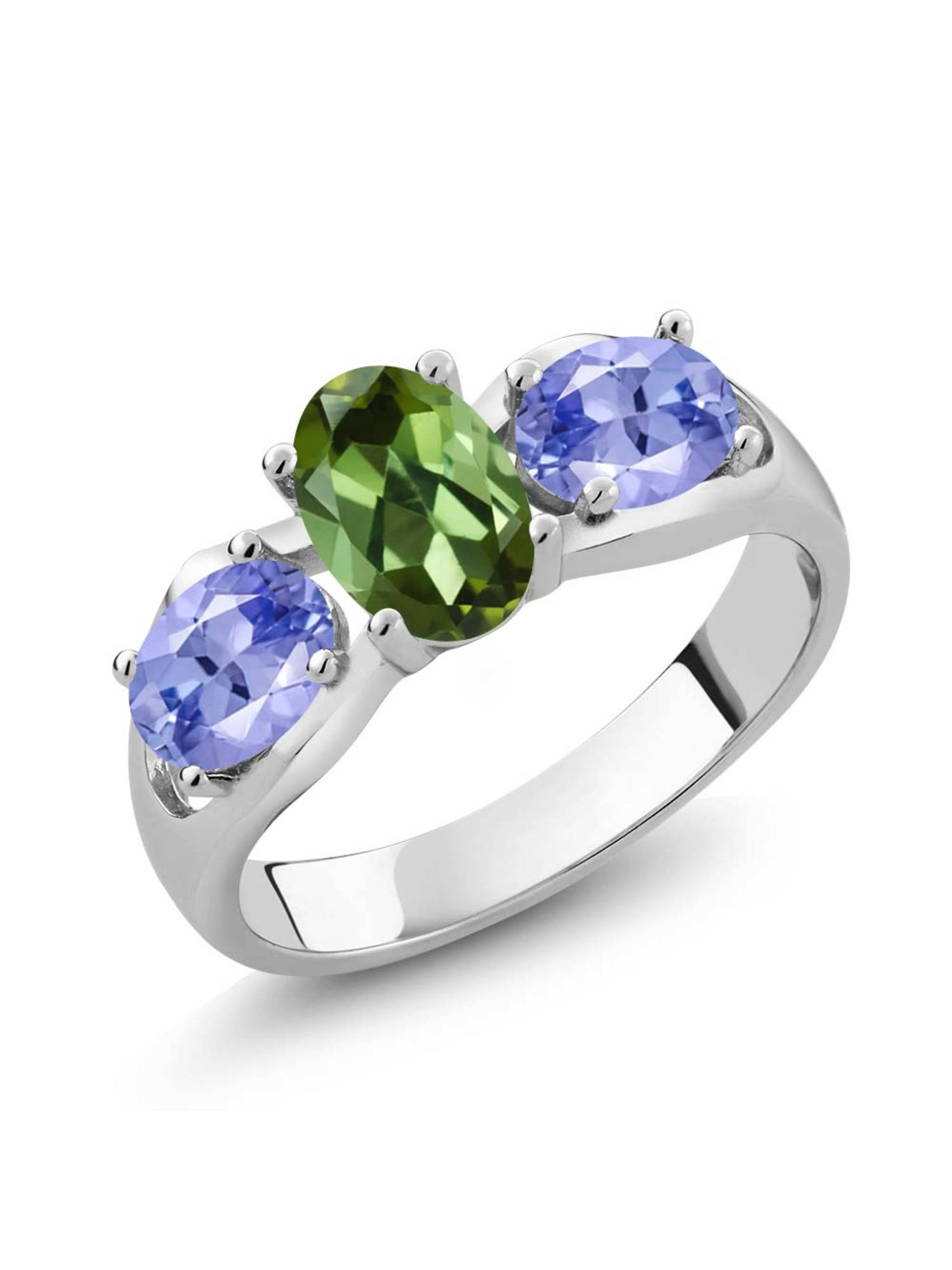 1.60 Ct Oval Green Tourmaline Blue Tanzanite 925 Sterling Silver Ring by