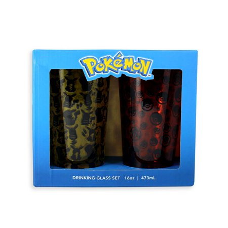 Pokemon Pikachu and Pokeball Licensed 2-Pack 16oz Pint Glass Gift Pack - Pikachu With Glasses