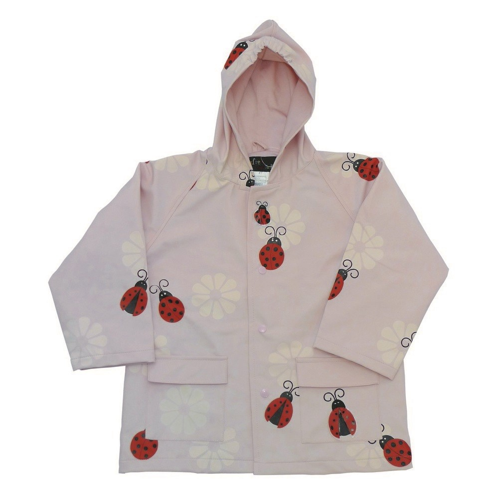 Little Girls Pink Lady Bug Rain Coat 2T-6