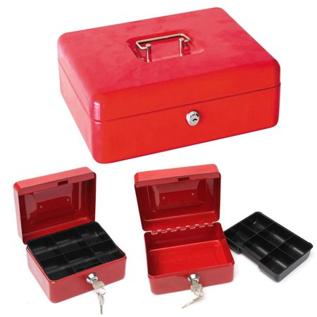 Ktaxon Protable Metal Tiered Cash Money Box Lock Locking Bank Safe Key Security (Cash Box Bank)