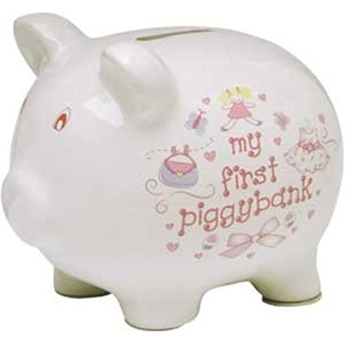 Baby Essentials My First Piggy Bank White with Dress and Pocketbook by