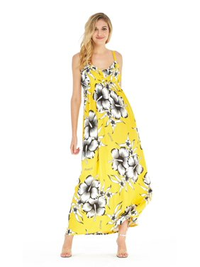 a4c1dfc4fa00f Product Image Women's Hawaiian Three Buttons Empire Maxi Dress in Vivid  Black Hibiscus Yellow. Hawaii Hangover. Product TitleWomen's ...