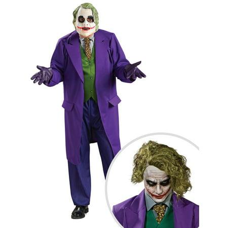 The Joker Deluxe Costume for Men and The Joker Wig for Adult - The Joker Adult Costume