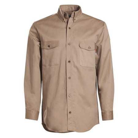 WALLS 56390KH9 FR Collared Shirt,XL Long,Khaki,2 Pckts G4331629