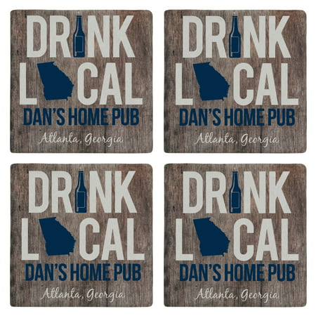 Personalized Drink Local Marble Coasters-Blue - Personalized Photo Coasters
