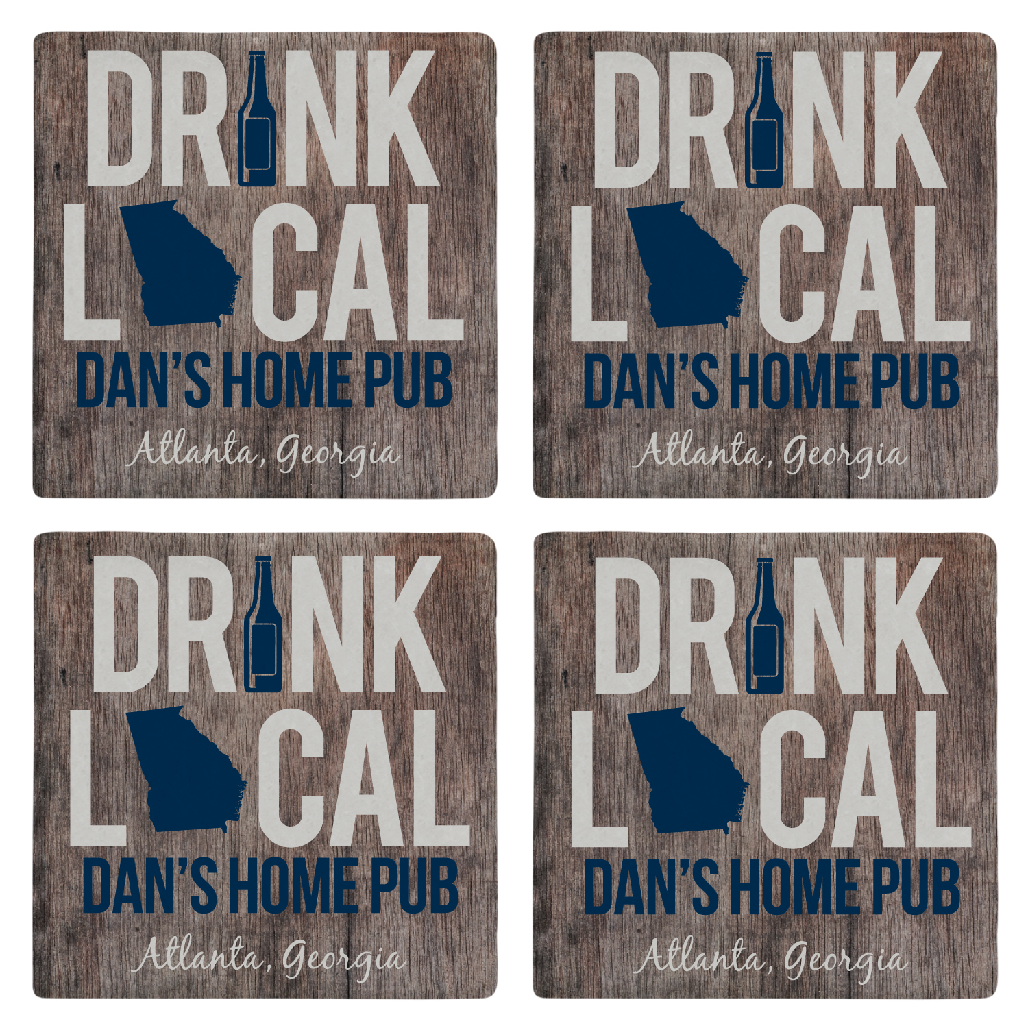 Personalized Drink Local Marble Coasters-Blue