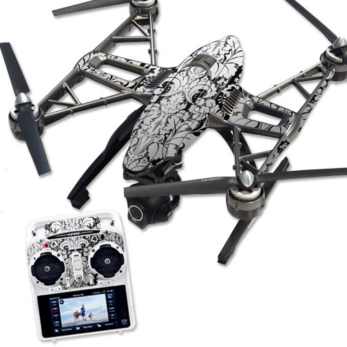 Skin Decal Wrap for Yuneec Q500 & Q500+ Quadcopter Drone Floral Retro