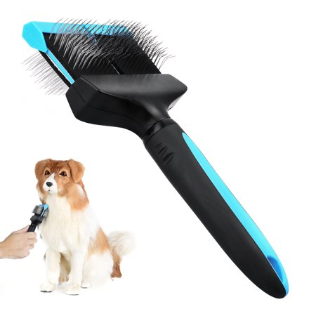 Pet Grooming Brush - Petacc Double Sided Flexible Pet Pin Brush Double Sided Dog Slicker with Non-slip Handle and Rounded Tipped Pins, Suitable for Long-haired Pets, Black & Blue