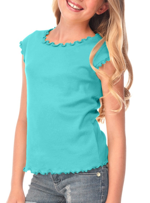 Kavio! Big Girls 7-16 Lettuce Edge Scoop Neck Cap Sleeve Top Caribbean Blue S