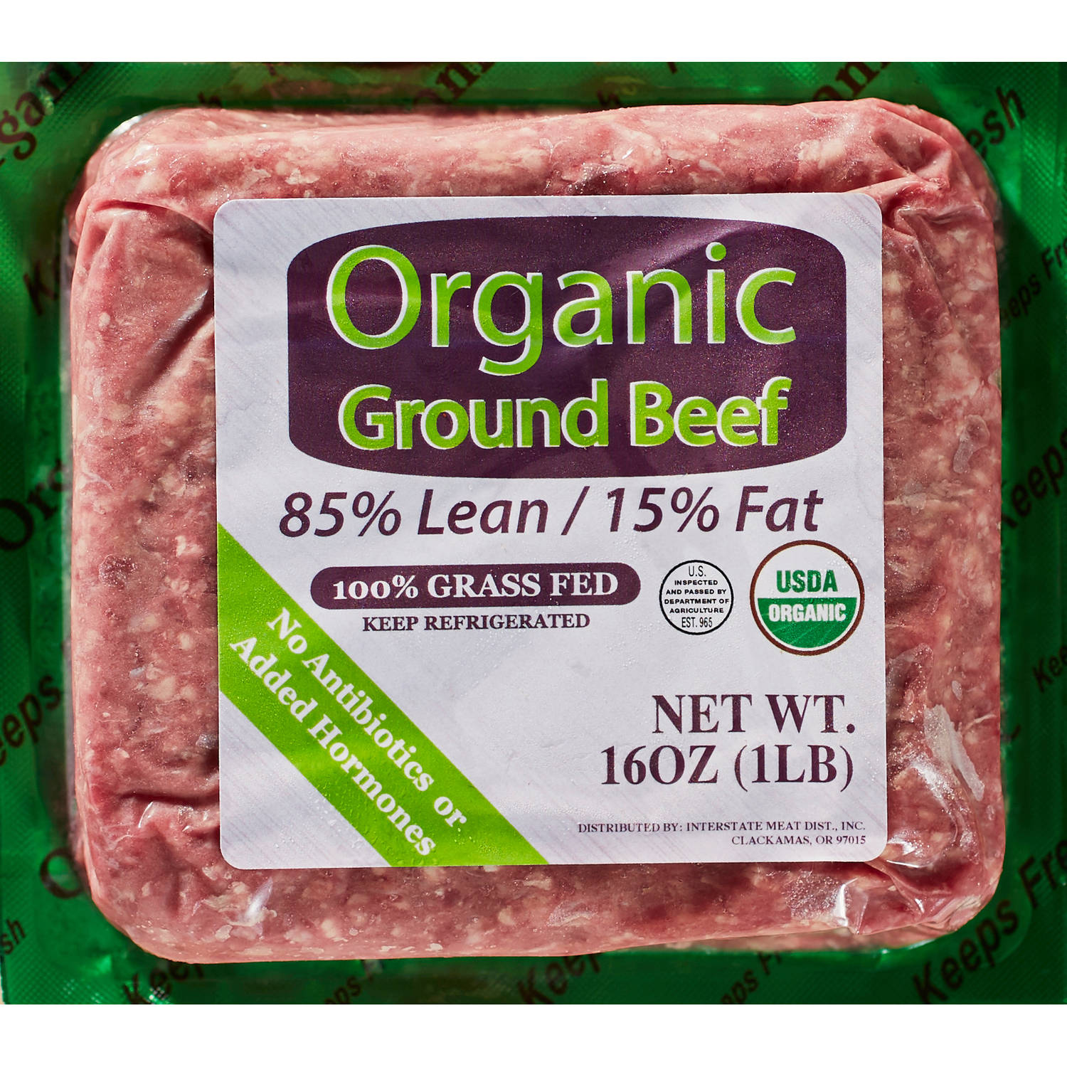 85% Lean/15% Fat Organic Grass Fed Ground Beef, 1 lb