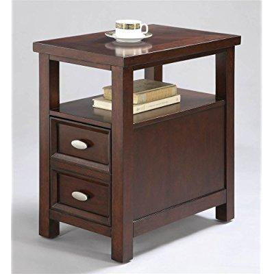 Image of ADF Chair Side Table with 1-Drawer, Cherry Finish
