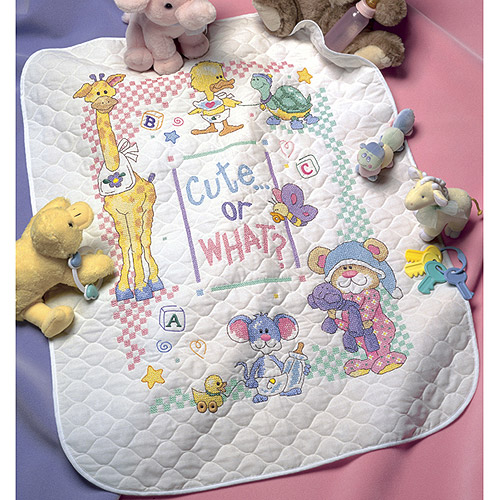 "Dimensions Baby Hugs Cute...Or What? Quilt Stamped Cross Stitch Kit, 34"" x 43"""