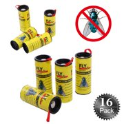 Sticky Fruit Fly Bug Traps for Indoor/Outdoor Use - Insect Catcher for White Flies, Mosquitos, Fungus Gnats, Flying Insects - Disposable Glue Trappers - 16 Rolls