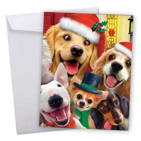 J6652GXSG Big Merry Christmas Greeting Card: 'Merry to Zoo' Featuring Cute and Funny Dogs Posing for an Adorable Christmas Selfie Greeting Card with Envelope by The Best Card (The Best Christmas Greetings)