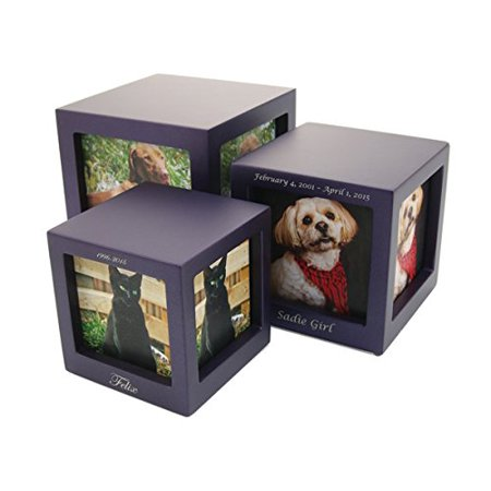 Handcrafted MDF Photo Cube Pet Urn Includes Free Liberty Microfiber Cleaning Cloth, Made of High Quality MDF and has a beautiful matte metallic Violet Luster.., By Liberty - Microfiber Cube