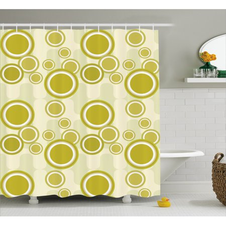 Retro Shower Curtain, Big and Little Dots on Abstract Backdrop ...