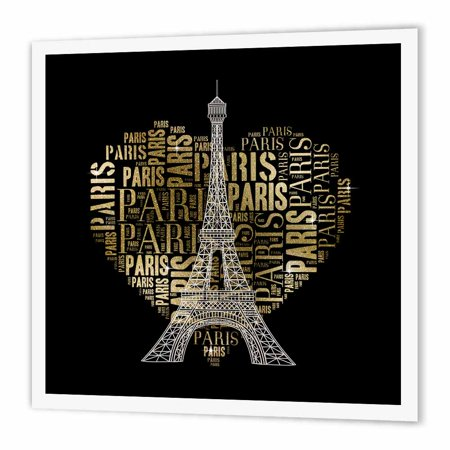 Design Iron On Transfers - 3dRose Eiffel Tower with golden heart as word cloud design, Iron On Heat Transfer, 10 by 10-inch, For White Material