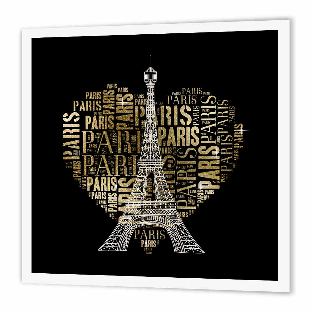 3dRose Eiffel Tower with golden heart as word cloud design, Iron On Heat Transfer, 10 by 10-inch, For White Material