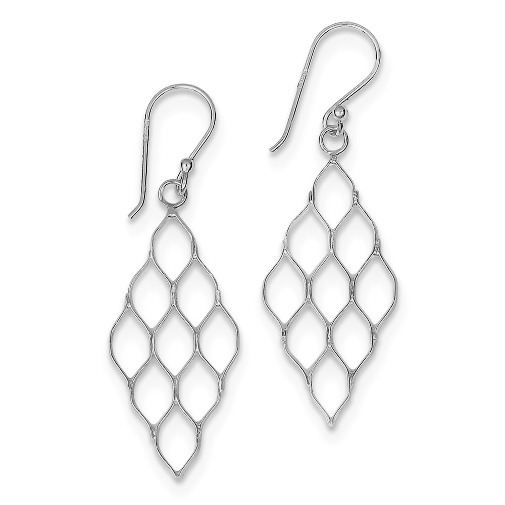 Sterling Silver Polished Fancy Honeycomb Dangle Earrings. (1.6IN x 0.5IN )