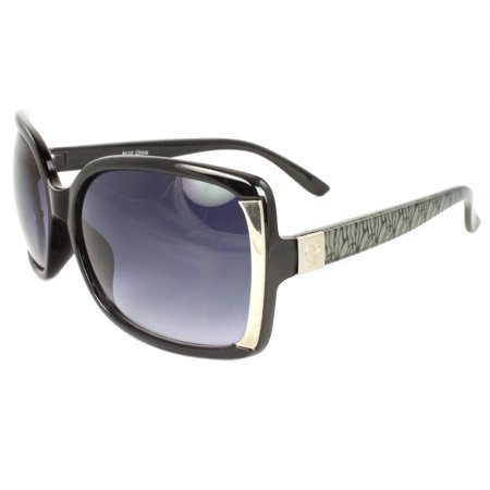 Stylish Square Sunglasses Black Silver Frame Metropolitan Design Purple Black (Gucci Sunglasses Green Frame)
