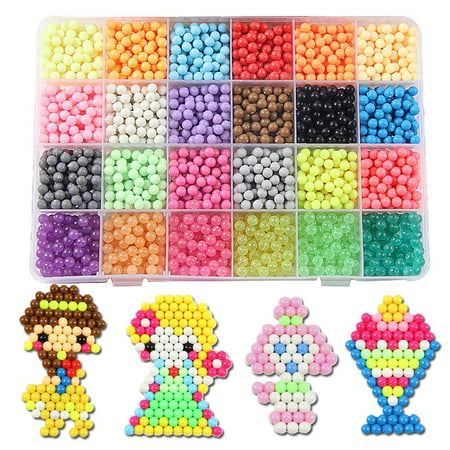 Fuse Beads Refill, 24 Colors Water Spray Beads Set Compatible with Aquabeads and Beados Art Crafts Toys for Kids Over 3000 Classic and Jewel Beads