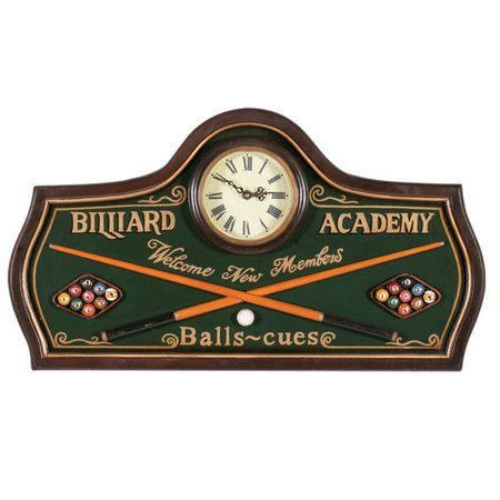 Pub Sign Billiard Academy Clock