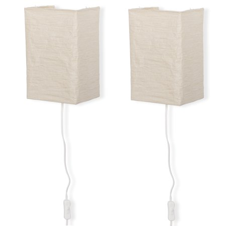 Wall Mount Rice Paper Lamp with Soft Mood Lighting by Wallniture Light Bulb Included Set of 2 Cream ()