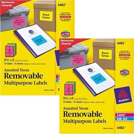 Removable Id Labels - (2 Pack) Avery High-Visibility Removable ID Labels, Laser/Inkjet, 3 1/3 x 4, Asst. Neon, 72/PK