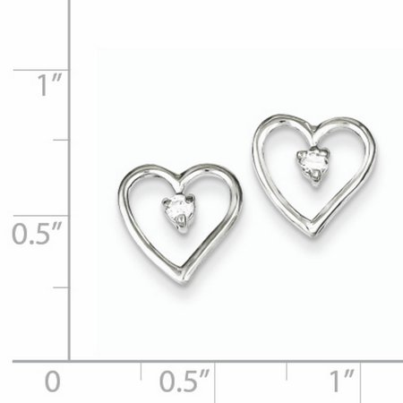 Sterling Silver Rhodium-plated CZ Polished Heart Post Earrings QE8687 - image 1 de 2