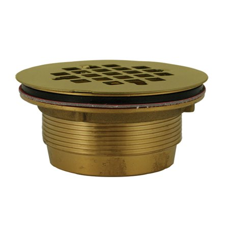 """2"""" No Caulk Shower Stall Drain with Brass Body and Polished Brass Strainer ,Part"""