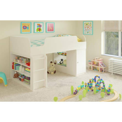 Cosco Elements Loft Bed Twin with 3-Shelf Bookcase & Toy Box Bookcase with door, White Stipple